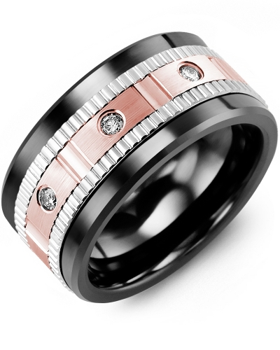 Men's & Women's Black Ceramic & White/Rose Gold + 3 Diamonds 0.15ct Wedding Band