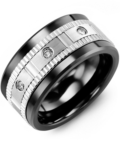 Men's & Women's Black Ceramic & White Gold + 3 Diamonds 0.15ct Wedding Band