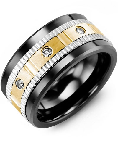 Men's & Women's Black Ceramic & White/Yellow Gold + 3 Diamonds 0.15ct Wedding Band