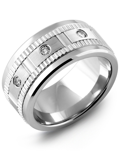 Men's & Women's Cobalt & White Gold + 3 Diamonds 0.15ct Wedding Band