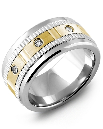 Men's & Women's Cobalt & White/Yellow Gold + 3 Diamonds 0.15ct Wedding Band