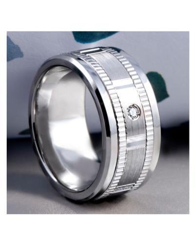 Men's & Women's Cobalt & White Gold + 3 Diamonds tcw. 0.15 Wedding Band