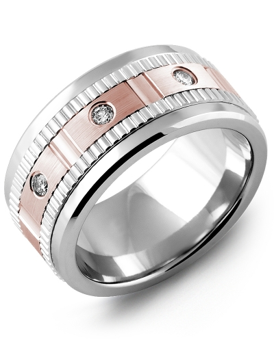 Men's & Women's Cobalt & White/Rose Gold + 3 Diamonds 0.15ct Wedding Band