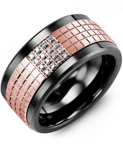 Men's & Women's Black Ceramic & Rose Gold + 16 Diamonds 0.16ct Wedding Band