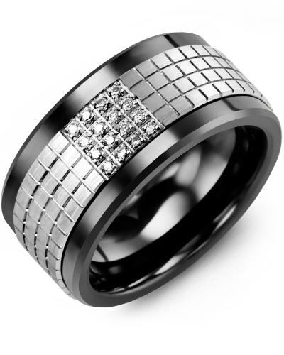 Men's & Women's Black Ceramic & White Gold + 16 Diamonds 0.16ct Wedding Band