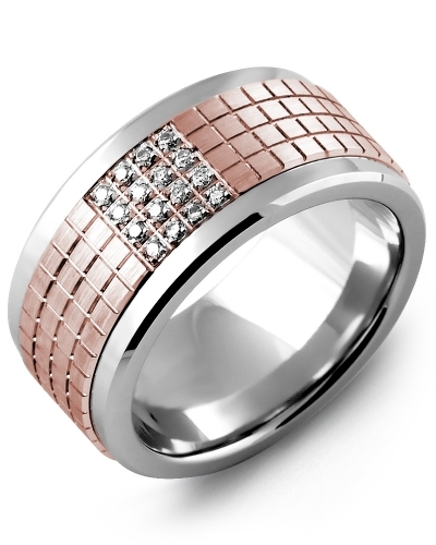 Men's & Women's Cobalt & Rose Gold + 16 Diamonds tcw 0.16 Wedding Band