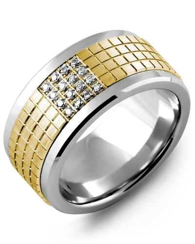 Men's & Women's Cobalt & Yellow Gold + 16 Diamonds 0.16ct Wedding Band
