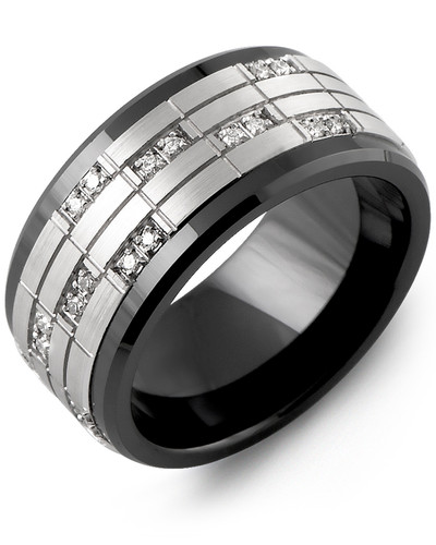 Men's & Women's Black Ceramic & White Gold + 20 Diamonds tcw 0.20 Wedding Band from MADANI Rings. Wedding bands, fashion rings, promise rings, made of Tungsten, Ceramic, Cobalt, and Gold. View the collection at madanirings.com