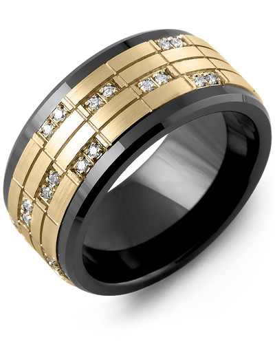 Men's & Women's Black Ceramic & Yellow Gold + 20 Diamonds tcw 0.20 Wedding Band