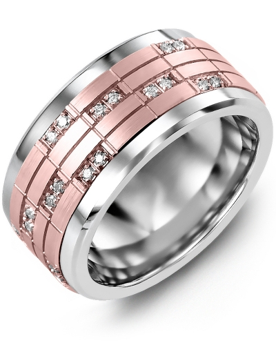 Men's & Women's Tungsten & Rose Gold + 20 Diamonds tcw 0.20 Wedding Band