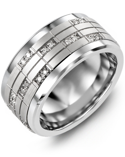 Men's & Women's Tungsten & White Gold + 20 Diamonds tcw 0.20 Wedding Band
