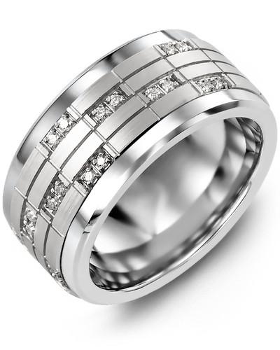 Men's Puzzle Pattern Wide Diamond Wedding Band