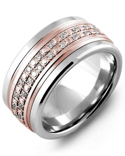 Men's & Women's Tungsten & Rose Gold + 42 Diamonds 0.42ct Wedding Band