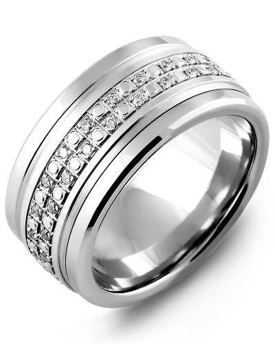 Men's & Women's Tungsten & White Gold + 42 Diamonds tcw 0.42 Wedding Band