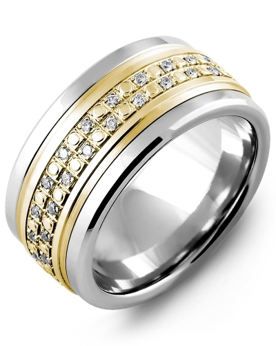 Men's & Women's Tungsten & Yellow Gold + 42 Diamonds tcw 0.42 Wedding Band