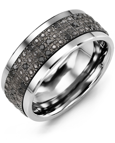 Men's & Women's Tungsten & Black Gold + 20 Black Diamonds 0.20ct Wedding Band