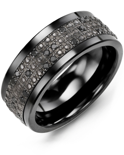 Men's & Women's Black Ceramic & Black Gold + 20 Black Diamonds 0.20ct Wedding Band