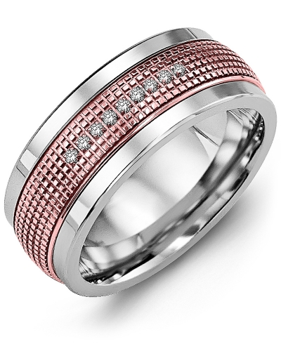 Men's & Women's White Gold & Rose Gold + 9 Diamonds 0.09ct Wedding Band