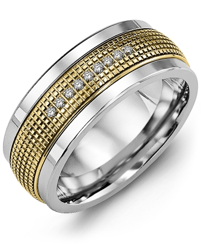 Men's & Women's White Gold & Yellow Gold + 9 Diamonds tcw 0.09 Wedding Band 10K 9mm