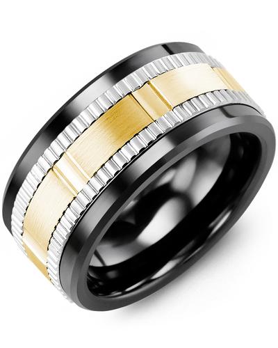 Men's & Women's Black Ceramic & White/Yellow Gold Wedding Band