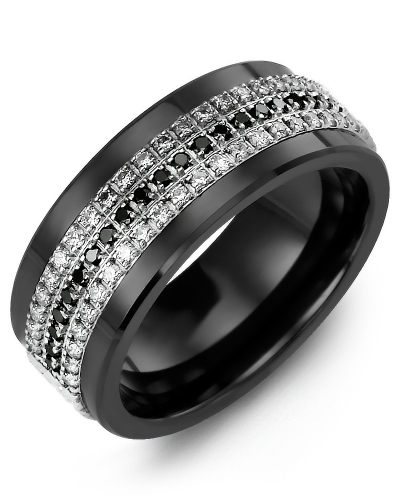 Men's & Women's Black Ceramic & White Gold + 63 Diamonds W/B/W tcw 0.63 Wedding Band from MADANI Rings. Wedding bands, fashion rings, promise rings, made of Tungsten, Ceramic, Cobalt, and Gold. View the collection at madanirings.com