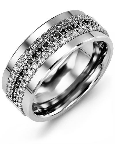 Men's & Women's Tungsten & White Gold + 63 Diamonds W/B/W tcw 0.63 Wedding Band 10K 7mm