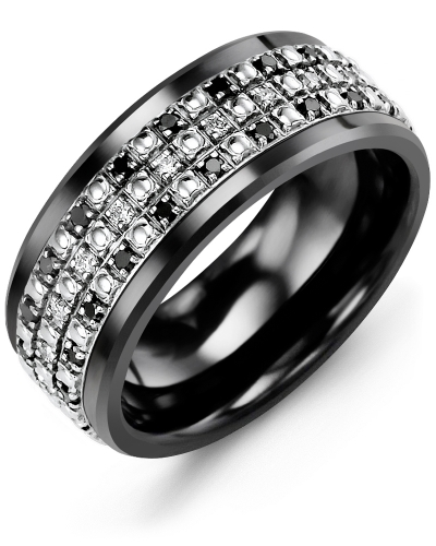 Men's & Women's Black Ceramic & White Gold + 63 Black White Diamonds 0.63ct Wedding Band