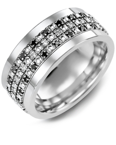 Men's & Women's Cobalt & White Gold + 63 Black White Diamonds 0.63ct Wedding Band