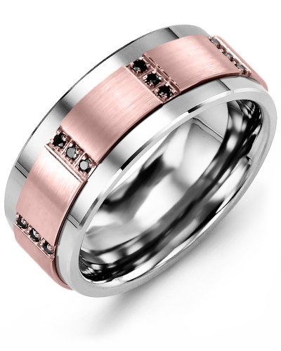 Men's & Women's Tungsten & Rose Gold + 12 Black Diamonds tcw 0.12 Wedding Band