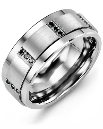 Men's & Women's Tungsten & White Gold + 12 Black Diamonds tcw 0.12 Wedding Band
