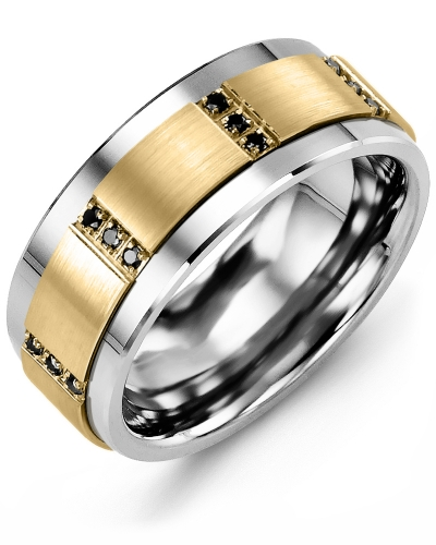 Men's & Women's Tungsten & Yellow Gold + 12 Black Diamonds tcw 0.12 Wedding Band