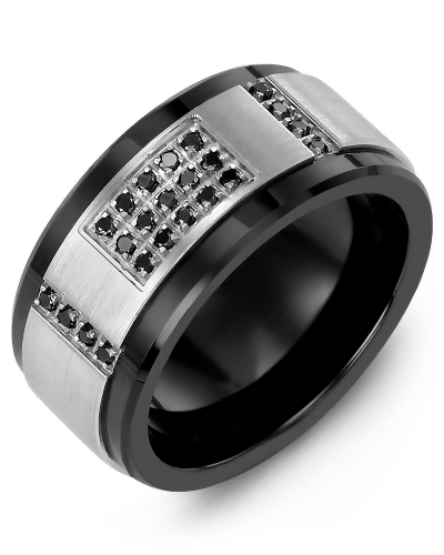 Men's & Women's Black Ceramic & White Gold + 31 Black Diamonds tcw 0.31 Wedding Band 10K 10mm