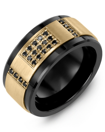 Men's & Women's Black Ceramic & Yellow Gold + 31 Black Diamonds tcw 0.31 Wedding Band 10K 10mm