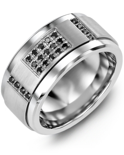 Men's & Women's Tungsten & White Gold + 31 Black Diamonds tcw 0.31 Wedding Band 10K 10mm