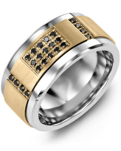 Men's & Women's Tungsten & Yellow Gold + 31 Black Diamonds tcw 0.31 Wedding Band 10K 10mm