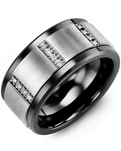 Men's & Women's Black Ceramic & White Gold + 12 Diamonds tcw 0.12 Wedding Band 10K 11mm