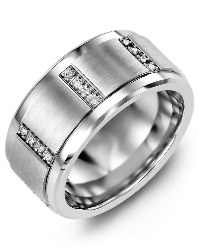 Men's & Women's Tungsten & White Gold + 12 Diamonds tcw 0.12 Wedding Band from MADANI Rings. Wedding bands, fashion rings, promise rings, made of Tungsten, Ceramic, Cobalt, and Gold. View the collection at madanirings.com