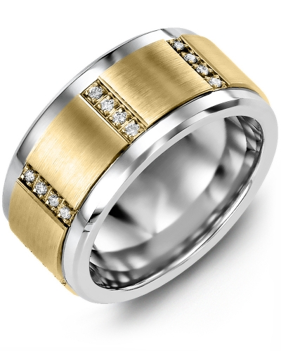 Men's & Women's Tungsten & Yellow Gold + 12 Diamonds 0.12ct Wedding Band
