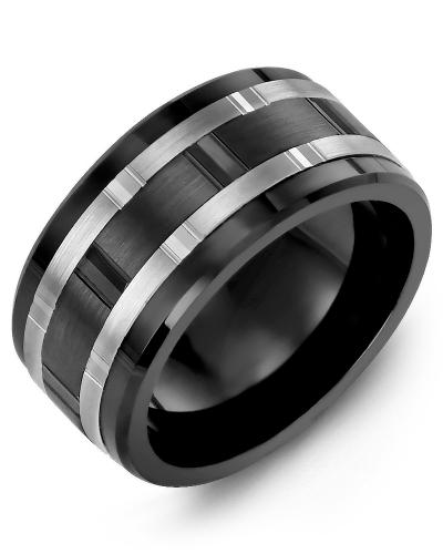 Men's & Women's Black Ceramic & White/Black Gold Wedding Band