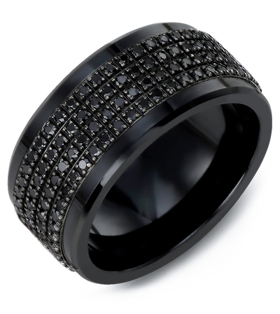 Men's & Women's Black Ceramic & Black Gold + 180 Black Diamonds 1.80ct Wedding Band