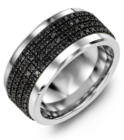 Men's & Women's Tungsten & Black Gold + 180 Black Diamonds 1.80ct Wedding Band