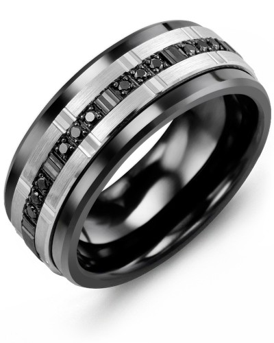 Men's & Women's Black Ceramic & White/Black Gold + 9 Black Diamonds 0.09ct Wedding Band