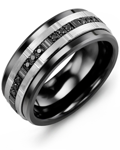 Men's & Women's Black Ceramic & White/Black Gold + 12 Black Diamonds tcw 0.12 Wedding Band from MADANI Rings. Wedding bands, fashion rings, promise rings, made of Tungsten, Ceramic, Cobalt, and Gold. View the collection at madanirings.com