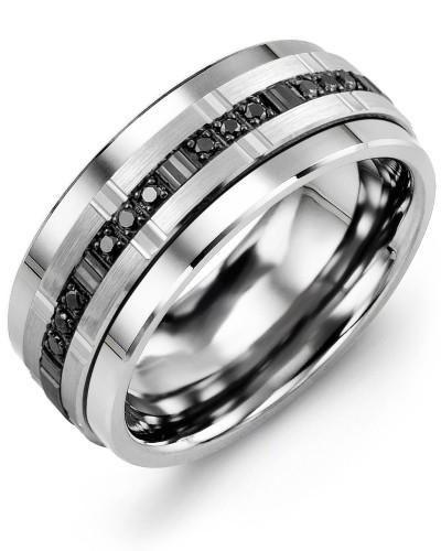 Men's & Women's Cobalt & White/Black Gold + 9 Black Diamonds 0.09ct Wedding Band
