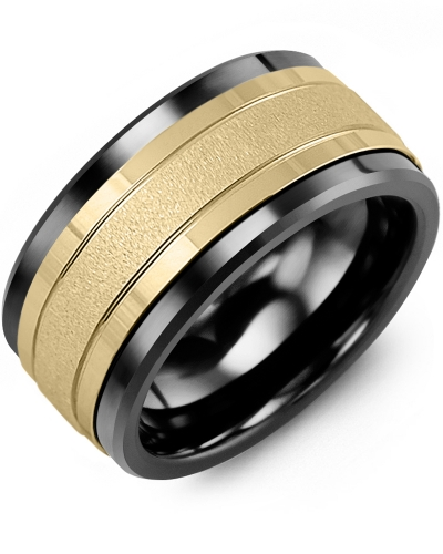 Men's & Women's Black Ceramic & Yellow Gold Wedding Band 10K 9mm