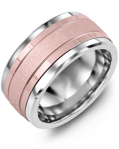 Men's & Women's Tungsten & Rose Gold Wedding Band 10K 11mm