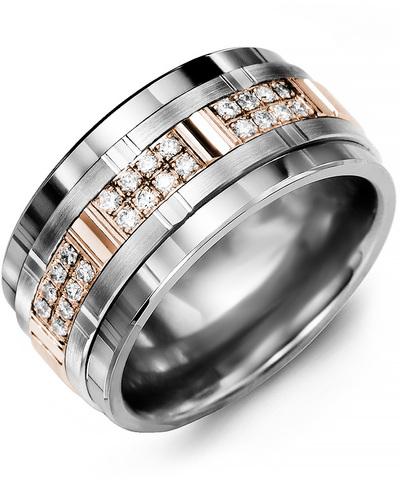 Men's & Women's Tungsten & White/Rose Gold + 24 Diamonds 0.24ct Wedding Band