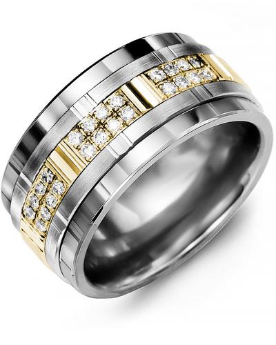 Men's & Women's Tungsten & White/Yellow Gold + 24 Diamonds 0.24ct Wedding Band