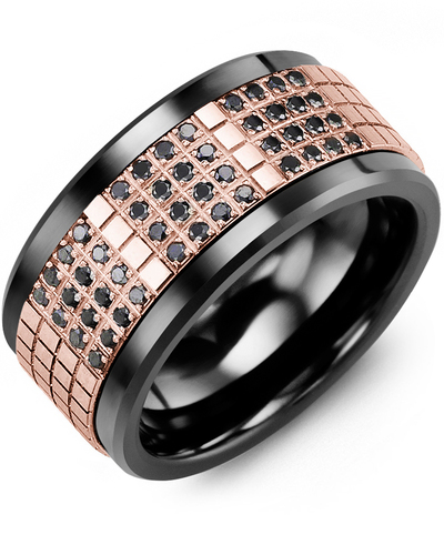Men's & Women's Black Ceramic & Rose Gold + 48 Black Diamonds 0.48ct Wedding Band