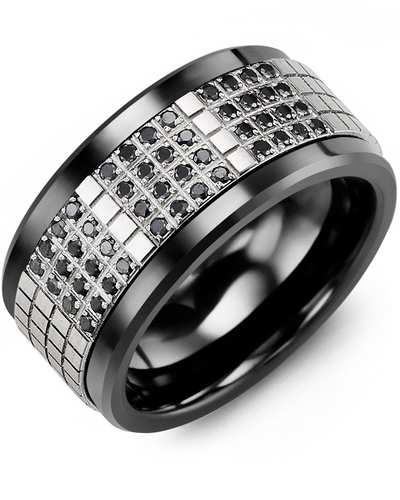 Men's & Women's Black Ceramic & White Gold + 48 Black Diamonds 0.48ct Wedding Band